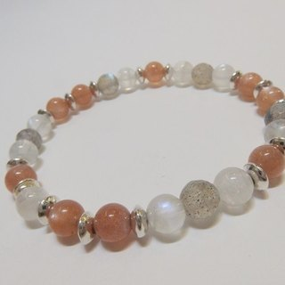 Tomorrow - Natural Gold Sun Stone + Labradorite + Moonstone 925 Silver Bracelet Hong Kong original design