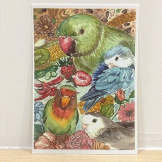 Parrot baby - hand-painted watercolor style postcards