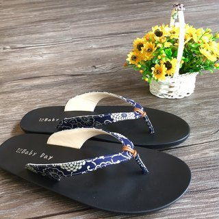 """Baby Day"" texture wind flops (Women subsection) elegant blue slippers paternity shoes"