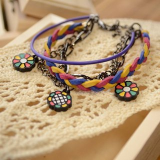 ❁ dazzling colorful world ❁ blue pink with yellow braided rope bracelet multi-level