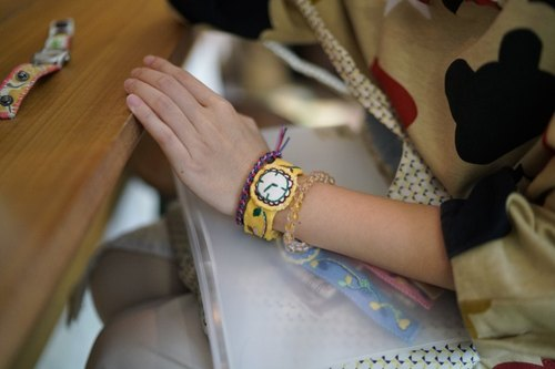 Hand made embroidery color fake watch bracelet jewelry ginger yellow