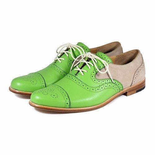 Sweet Villians M1093B 手工真皮雕花雙色牛津鞋 綠卡其