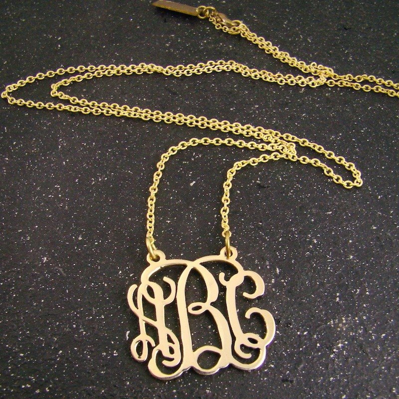 Monogram font style Personal nameplate necklace in brass