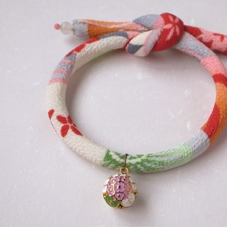 Japanese kimono dog collar & cat collar【Single knot】Orange Red_S size