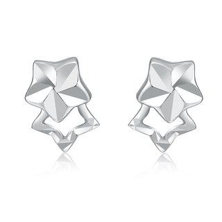 Hong Kong Design 14K / 585 white gold net gold star earrings