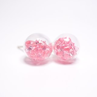 A Handmade pink crystal ball earrings