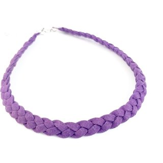 Purple - twist braid suede necklace