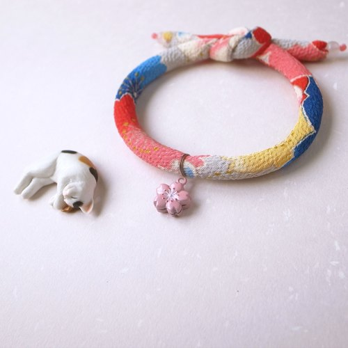 Japanese kimono dog collar & cat collar【Single knot】AkaAo_S size