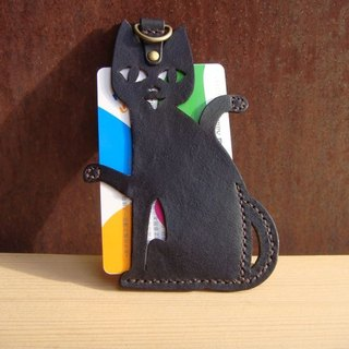 ISSIS - All handmade leather black cat shape leisure card set