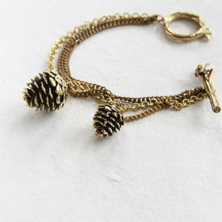 Golden Pine cone with brass chains Bracelet - Woodland Toggle clasp