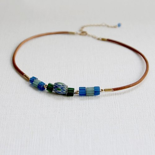 RE independent hand-made leather rope bracelet [rebirth of old glass - Water Okinawa]