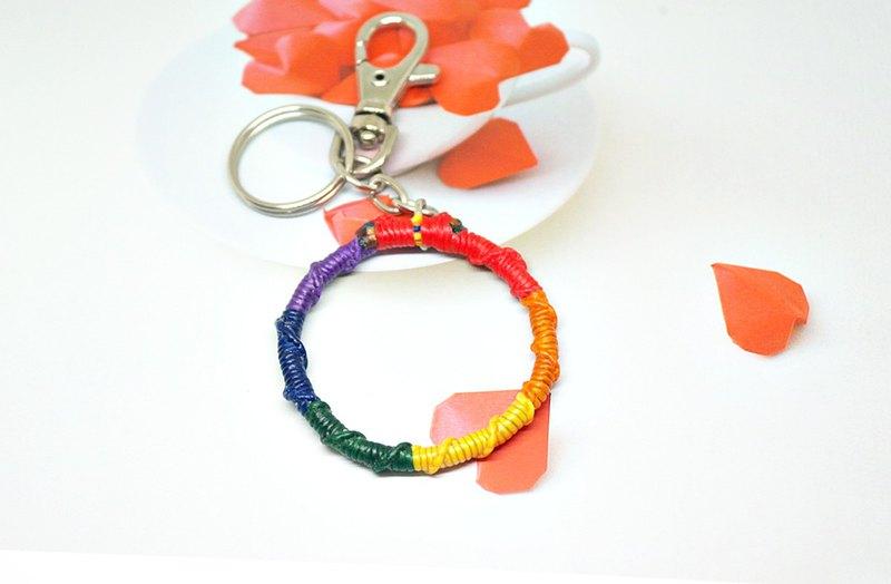 手編蠶絲蠟線鑰匙圈+包包掛件 -共擁彩紅-  #彩虹色限定款