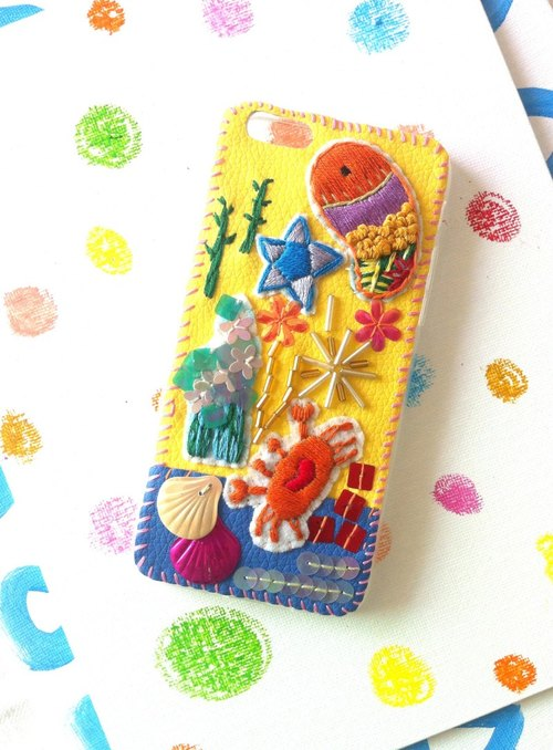 Underwater World phone shell embroidery beading iPhone6 ​​/ 7plus