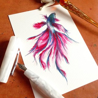Postcard ~ ink dye painting - betta
