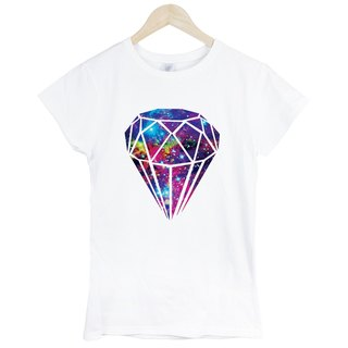 Diamond-Galaxy # 3 girls short-sleeved T-shirt - white diamonds galactic cosmic design photo
