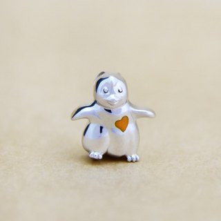 Moon Gift【Wonderland】Baby Penguin (Orange Heart) 925 Silver Necklace
