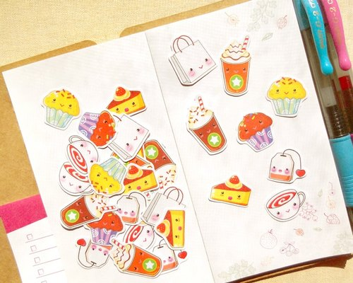 Tea Time Stickers - 30 Pieces - Planner Stickers - Stickers for Planner