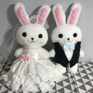 Rabbit doll wedding rabbit. Elegant white wedding dress] handmade wedding gift. Bedding doll. Wedding decorations. The color of the car exposed dew rabbit