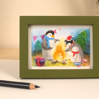 """Small animals live - Christmas articles"" containing original color pencil illustration painted frame"