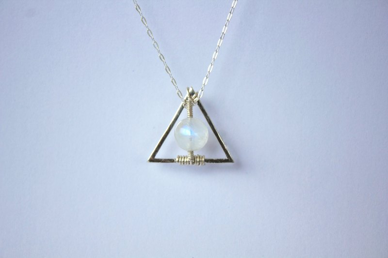 80d10fb8f Myth Deluxe - Rainbow Moonstone with Sterling Silver Necklace geometry  Triangle - Designer World Smells Different After It Rains | Pinkoi