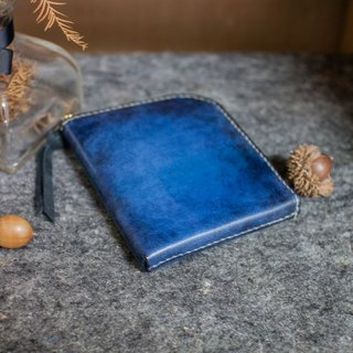 Lazy handmade leather wallet 5 floor! (Straight) black and blue gradient color