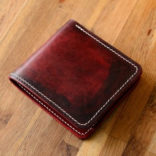 Handmade pot two-fold cross-section of Japanese hand-dyed by hand dark tanned leather wallet short wallet fiscal minimalism leather