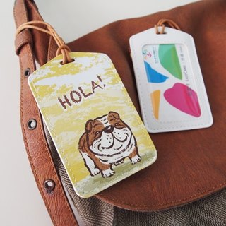 Multifunction card sleeve key ring -Hola! English Bulldog