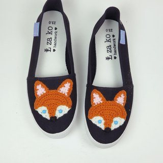 Black bottom casual canvas hand made shoes forest fox models no woven models