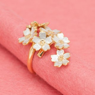 Japanese cherry blossom - adjustable ring - Sakura flowers - free-size