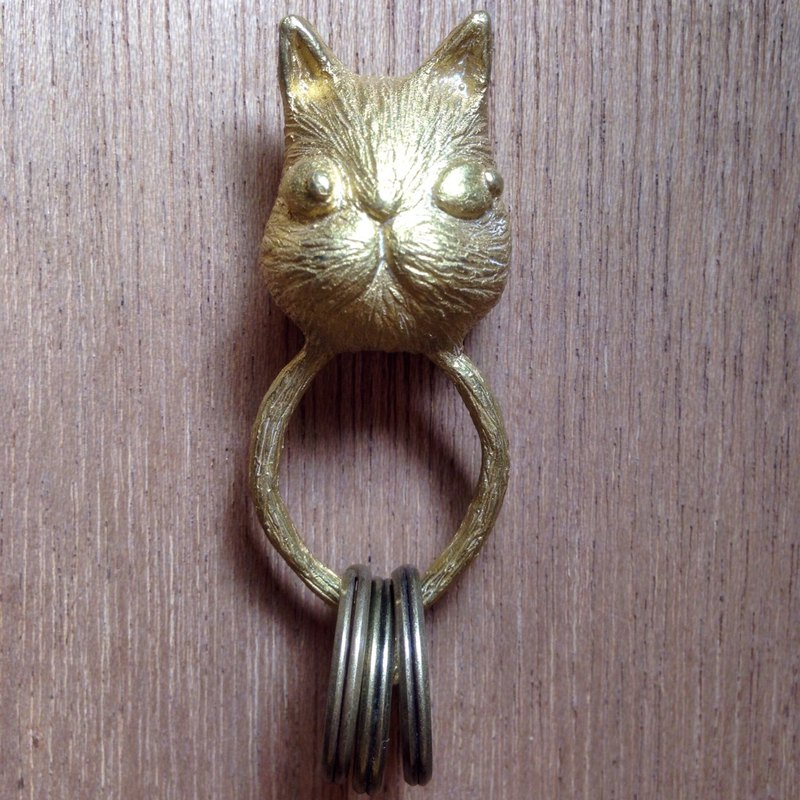 EmmaAparty handmade pure copper key ring '' cat help you get '