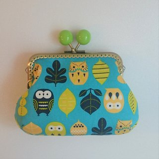 Gold bag / storage bag / cute owl / blue