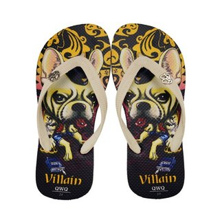 QWQ Creative Design Flip-Flops - Villain Dog-Black [BST03315]