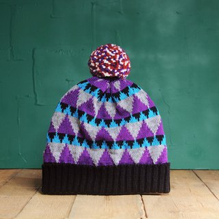 Magic Triangle Detachable PomPom Beanie Hat