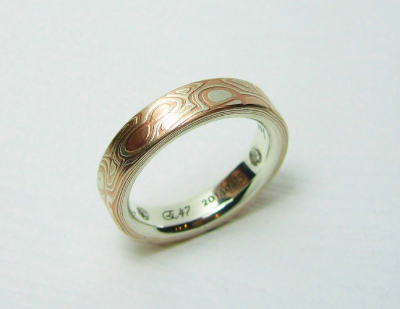 Element 47 Jewelry studio~ mokume gane ring 17 (silver/copper/shibuichi)