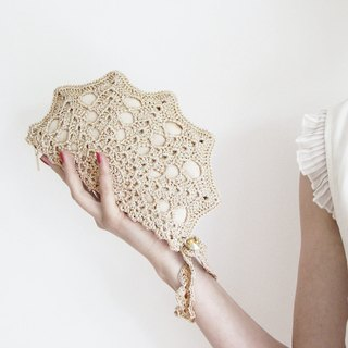 Champagne Clutch Bag - Pale Golden Clutch Purse- Golden Crochet Purse - Bridal Lace Clutch - Golden Metallic Handbag - Bridesmaid Clutch