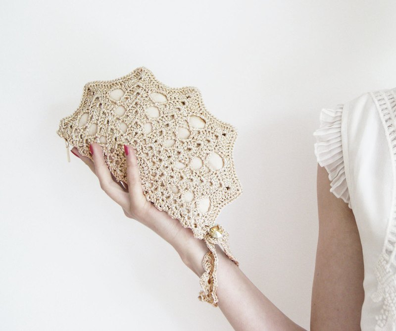 Champagne Clutch Bag Pale Golden Clutch Purse Golden Crochet