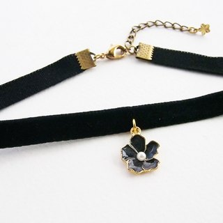 Black velvet choker / necklace with black flower.