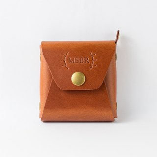 Square small bag / Coin Case / purse / Italian leather pure brass hardware (chestnut brown)