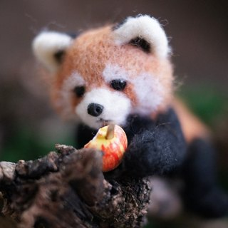MINI'S SECRET ~ handmade wool felt special customized version of the red panda doll