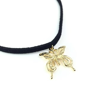 Golden Butterfly - Black Necklace