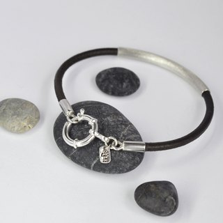 Matte leather cord bracelet sterling silver tube