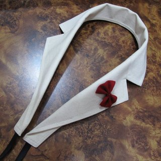 Suit collar styling camera strap (meters plus removable small white butterfly)