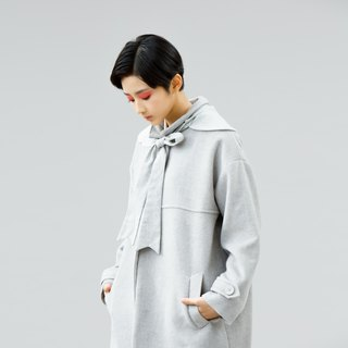 Small collar cashmere cocoon-shaped long coat