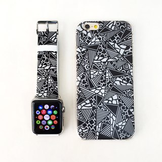 [Gift Packaging] Apple Watch Series 1 , Series 2 and Series 3 - Patchwork Patten Soft / Hard Case + Apple Watch Strap Band