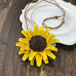 Sunflower Leather Choker