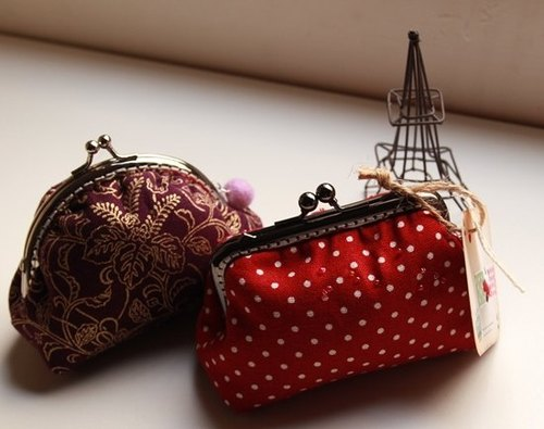 Cotton Fabric: Coin Purses, Cosmetic Bag,  Dinner bag, Red spot