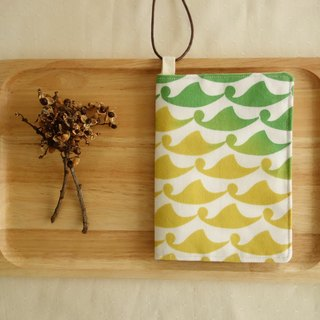 Kyoto fabric Passport Holder - wave (yellow-green)