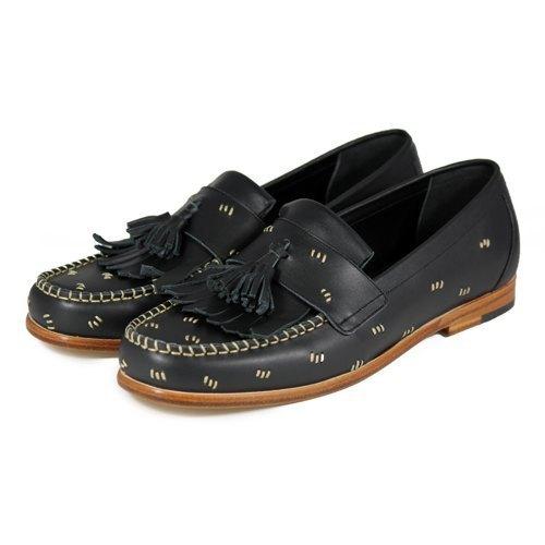 Sweet Villians M1109 手工真皮流蘇縫線樂福鞋 黑色