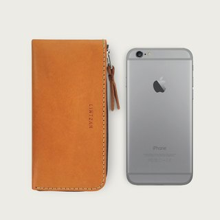 iPhone zipper phone case / wallet -- camel yellow