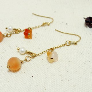 [Sang Sang] [Eat Sweet] Natural Pearl mix Brass Mix Agate Drop Earrings / Earrings / Ear Hook